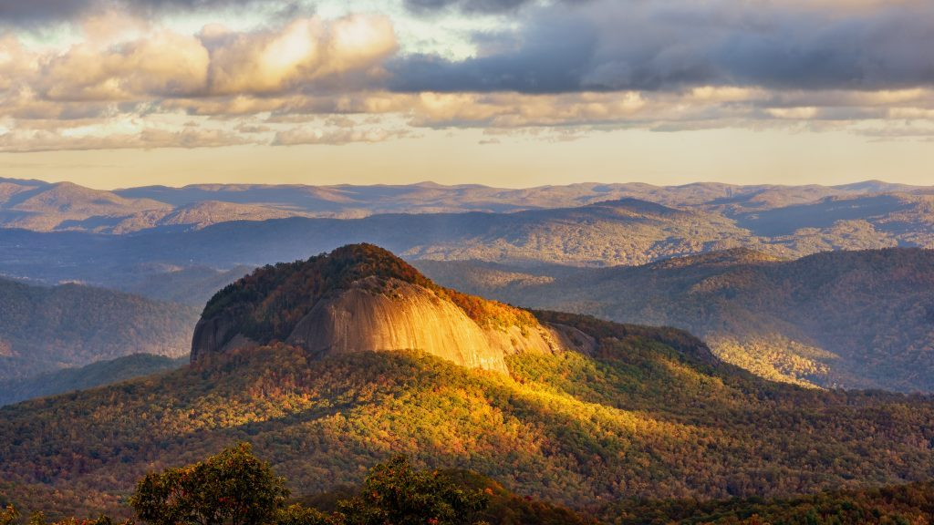 Looking Glass Rock form the Blue Ridge Parkway in Autumn